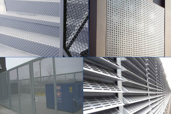 Perforated louvers noise barrier, perforated screen gate, perforated plate decoration and checker plate stairs.