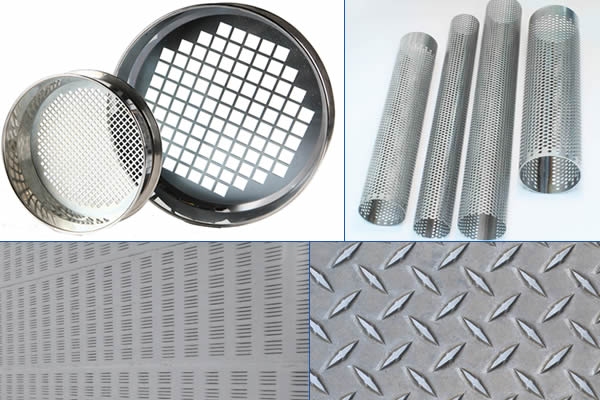 A piece of checker plate, a piece of perforated louvers, five perforated tubes and two perforated sieves.