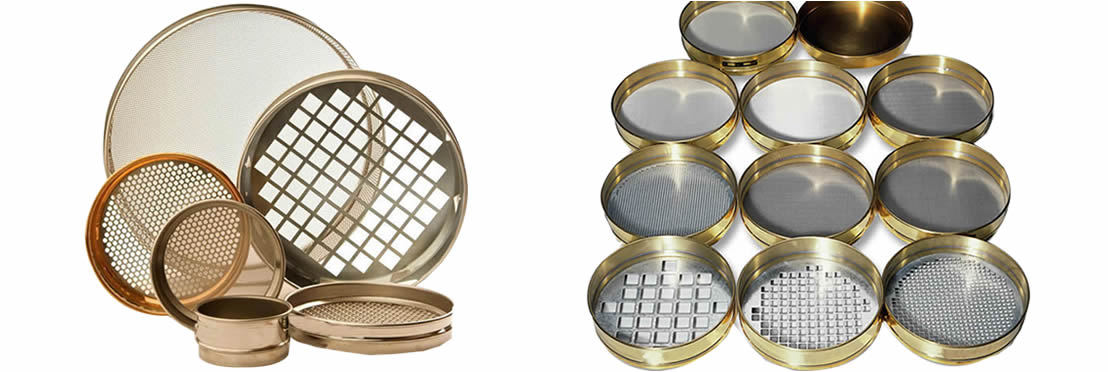 Several perforated sieves on the white background with different hole types and materials.