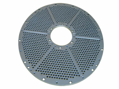 There is a ring-shape perforated filter disc with round holes.