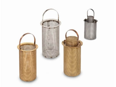 Several perforated filter baskets have different materials: brass, aluminum and stainless steel.