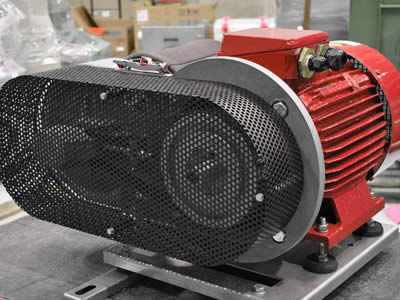 A blower includes main body with blue surface and a perforated metal machine guarding with round holes and black surface.