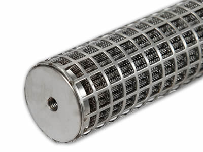 There is a composite filter element with pleated metal inside and perforated mesh outside.
