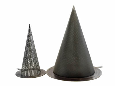 There are two conical metal filters with sharp bottom.