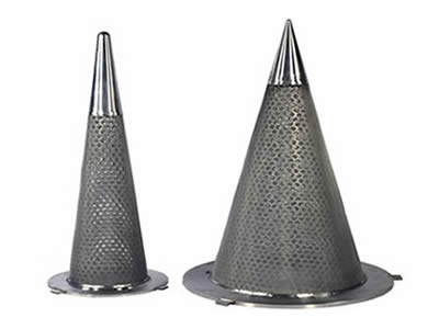 Two conical perforated filters with wrapped bottom stand here.