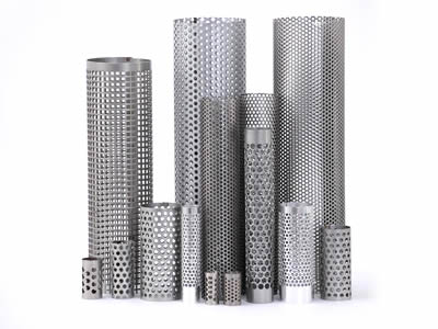 Several cylindrical perforated filter elements with round holes and square holes stand here.