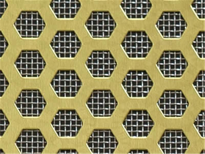 There is a brass perforated metal with hexagon holes and sintered metal.