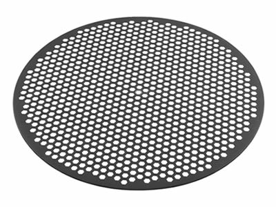 There is a hexagonal hole perforated filter disc with margin.