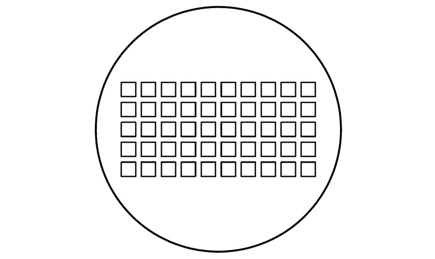 A drawing of perforated plate with square holes more than 20 holes.