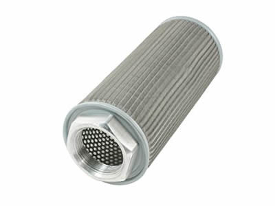A composite filter element has inside perforated mesh and outside pleated mesh.