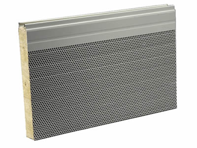A piece of perforated metal noise barrier composed from galvanized metal sheets and filled core.