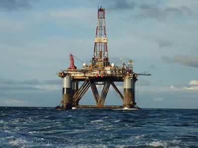 Non slip platforms are used in oil drilling in the ocean.