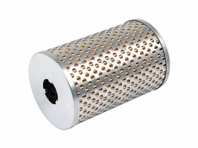 There is a composite filter element with outside perforated mesh and inside pleated filter paper.