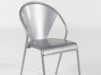 A chair with round holes, silver surface and fan-shaped backrest.