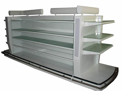 A white perforated metal display rack  with perforated metal back panels and shelves made up of glass and metal plates.