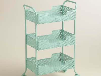 A blue perforated metal rolling cart with round holes in staggered rows and three stories.