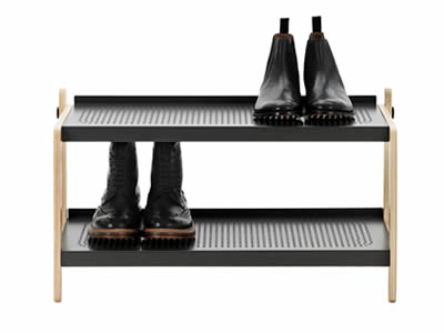 A shoe rack with two stories, and a pair of shoes is on the right of top floor, another one is on the left of bottom floor.