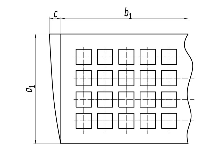 A sheet of perforated plate screen drawing with overall length and amount out-of-square.