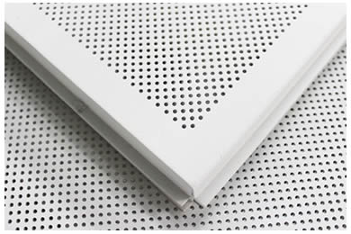 Two pieces of white painted perforated sheet.