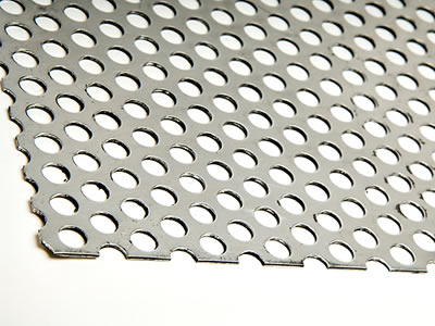 There is a perforated plate with round holes in staggered lines.