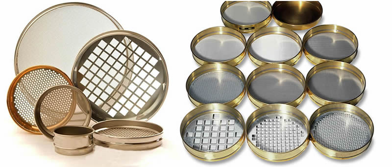 Several sieves with hole type of round and square, materials of brass and stainless steel.