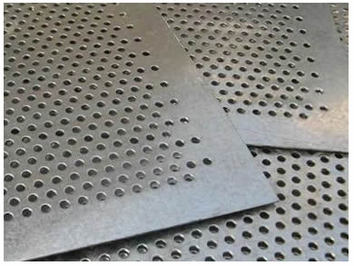 Three pieces of galvanized perforated screens with round hole.