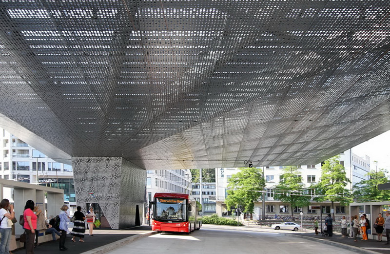 Perforated sheets are set up a bus station for people convenience.