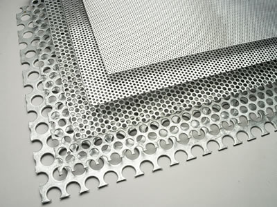 Five perforated metal sun visors with different density have no margin, from bottom to top density increased in turn.