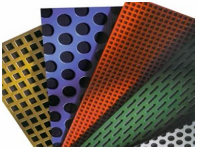 Different colors of PVC coated perforated plate: gold, purple, green, red and sliver.