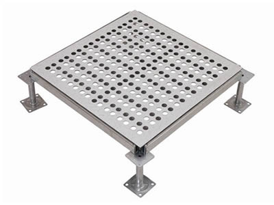 A piece of perforated metal floor with round holes is divided into two parts by a row of round holes and fixed on the substructure.