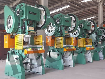 A row of machines equipped with left and right safety guard with cross holes in straight rows is on factory.