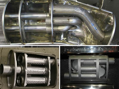 The picture shows three kinds of silencers in which perforated pipes are used.