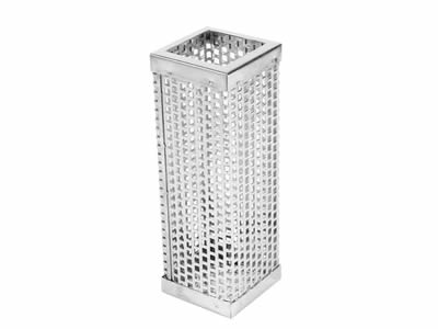 There is a square end perforated filter element with square holes.