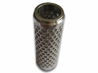 There is a round holes perforated filter element with inner woven fine mesh and perforated mesh as stent.